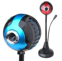 [Drop Shipping] [Drop Shipping] Free shipping T92 webcam hd usb computer video head free drive with mic, blue & red