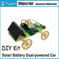 Wholesale (30pcs/lot) Solar Panel / Battery Dual -powered Toy Car Knowledge and Fun for Students Technology Gizmos DIY Courses