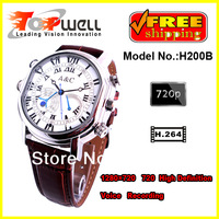 China Post Air Mail Free shipping 8G Real 1280*720 720P HD H.264 Decoding Waterproof Digital Watch Camera