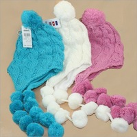 3pcs/lot Wholesale Child Knitting Wool Ear Hat & Mix Color Kids Warm Hat Free Shipping
