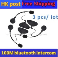 Free Shipping!3 pcs/lot Motorcycle Helmet GPS Bluetooth Intercom Headset V1 Headphones Interphone up to 100m