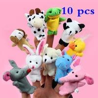 2014 New 10x Cartoon Biological Animal Finger Puppet Plush Toys Child Baby Favor Dolls
