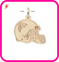 free shipping 50pcs a lot wholesale sport gold plated Atlanta Falcons football helmet charms