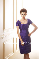 MBD1301   Purple knee length removable cap sleeve teffeta mother of the bride dress