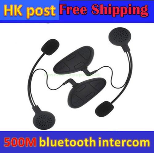 Free Shipping!!2 pcs Motorcycle Hand Free Bluetooth Helmet Headset Intercom 500m FM Stereo MP3 GPS(China (Mainland))