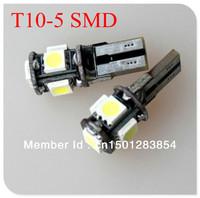 Free Shipping 10pcs/lot T10 5 LED Canbus W5W 194 5050 SMD Error Free White Light Bulbs