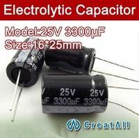 Free shipping 50pcs 3300UF 25V electrolytic capacitor,25V 3300 microfarad capacitors