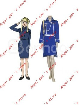Free shipping FullMetal Alchemist Winry Rockbell Military Cosplay Costume