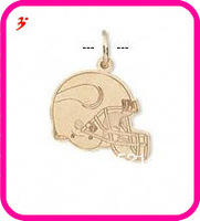 free shipping 50pcs a lot wholesale sport gold plated Minnesota Vikings football helmet charms