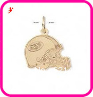 free shipping 50pcs a lot wholesale sport gold plated New York Jets football helmet charms