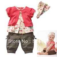 3 Pcs Kids Baby Girls Fruits Pattern Top+Pants+Hat Set Outfits 0-3 Years Clothes XL045 drop freeshipping
