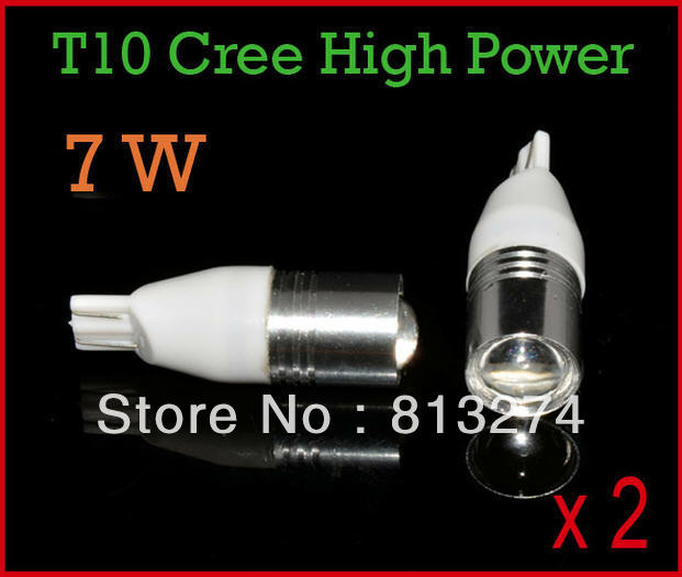 2 X High Power CREE R5 7W Super HID Xenon White 921 912 T10 Optical Projector LED Car Bulbs for Backup Reverse Lights 12V AAA(China (Mainland))