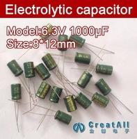 Free shipping 500pcs 1000UF 6.3V electrolytic capacitor,6.3V 1000 microfarad capacitors