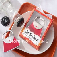 "NEW ARRIVAL+Wedding Favors ""Sip & Shop"" Purse Bottle Opener+100sets/LOT+FREE SHIPPING(RWF-0013BO)"