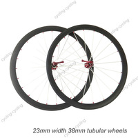 23mm width 38mm tubular carbon bicycle wheels 700c Carbon fiber road bike Racing wheelset