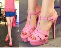 Brand name women 14cm platform sandals criss cross strappy high heels nude pumps 2014
