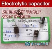 Free shipping 200pcs 1500UF 6.3V electrolytic capacitor,6.3V 1500 microfarad capacitors