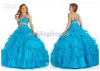 2013 pageant Ball gown ruffles Beaded floor-length wedding Junior bridesmaid flower girl dresses