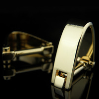 The spatiotemporal gold plated cufflinks male French nail sleeve shirt cufflinks
