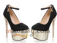 NEW Deign Spike Stiletto Heel women's high heel shoes with spikes gold rhinestone high-heeled shoes platform free & drop ship