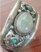 Tibetan tribe Jewelry Tibet silver Carved turquoise Moonstones Cuff Bracelet    #2000
