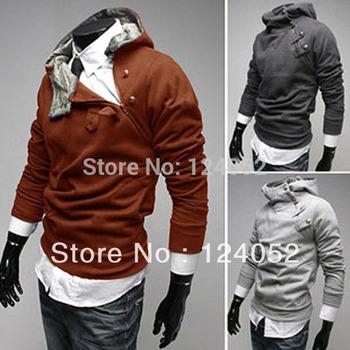 Mens Slim Fit Slant Zip Detail Hoodie Artificial Rabbit Fur Collar Jacket Coat Free shipping&drop shipping JX0071