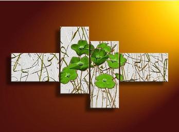 4 Piece pintura de parede Art No Framed abstrata moderna Acrílico Verde Flor Oil Poppy On Canvas Living Room Pictures Arte(China (Mainland))