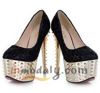 Designer Brand Spike Stiletto Heel women's high heel shoes with spikes gold rhinestone high-heeled shoes platform free shipping