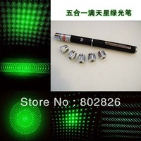 10pcs x10mW green laser pointer pen with 5 star caps (5in1) laser kaleidoscope + FREE SHIPPING