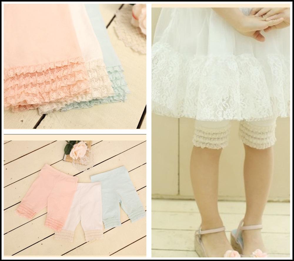 2013 Summer Girls Half Leggings Cotton Ruffles Lace Legging Manufactory Direct Wholesale Children Wear 5pcs Fast Free Shipping