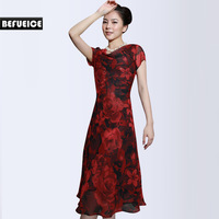 Befueice spring and summer print handmade beaded chiffon one-piece dress a1101