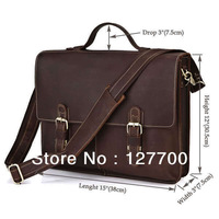 7090R Vintage Crazy Horse Leather Men's Dark Brown Briefcase Messenger