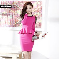 Befueice2013 spring one-piece dress outfit OL gentlewomen long-sleeve slim new arrival qa3328