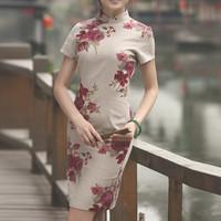 2013hot sale fashion women linen chinese dresses slim vintage stand short sleeve knee-length print dress free shipping
