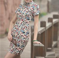 fashion women 45%linen chinese 2013 new hot sale slim dresses vintage stand short sleeve mni print dress free shipping