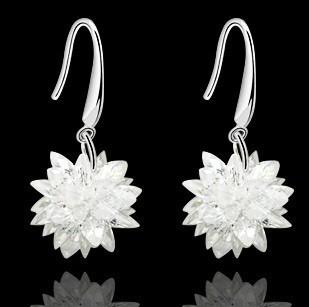 Fashion 925 pure silver zircon earrings Lady s white sapphire CZ long earrings marriage accessories earring