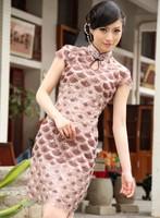 2013 hot sale fashion women chinese dresses Satin silk sheath stand short sleeve mni Ink and wash print dress free shipping