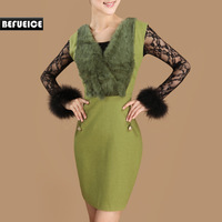Befueice winter one-piece dress rabbit fur patchwork slim woolen sleeveless vest formal ol all-match gentlewomen