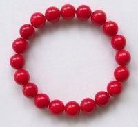 "Pretty 8MM Red Coral Beads Stretchy Bracelet 7.5"" Fashion jewelry"