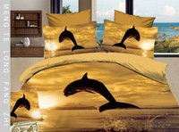 Hot Fashion New  Beautiful 100% Cotton 4pc Doona Duvet QUILT Cover Set bedding set Queen/  King size golden dolphine