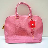 2013 New Fashion Free Shipping Light Pink  Cute Hello Kitty Pu Lock  tote bag handbag shoulder Women Lady Girl Funky Divas