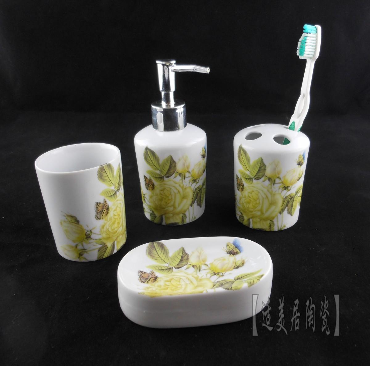 Fashion bathroom at home ceramic supplies Light yellow rose pattern bathroom set bathroom supplies(China (Mainland))