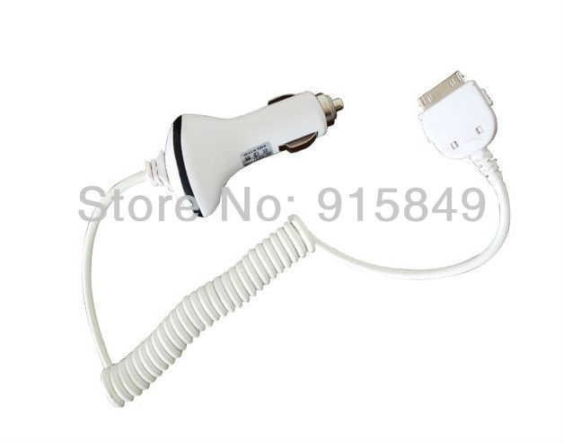Free Shipping 1Pcs DC Car Charger Adapter for iPhone3GS 3G 4G 4S Car Charger with Spring Cable Best Price and High Quality(China (Mainland))