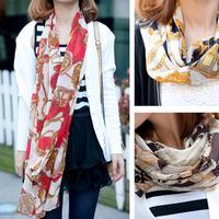 Fashion pepper faux silk vintage bohemia scarf cape female carriage chain scarf silk scarf