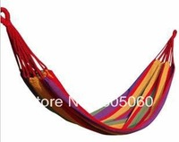 Free shipping blue & red camping hammock swings with thick canvas hammock indoor & outdoor leisure bearing a hammock