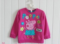 NEW STYLE free shipping peppa pig girl girls long sleeve sweatshirts pink jumper jumpers