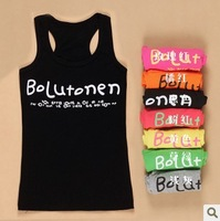 2013 new Cotton thread candy colored letters the word vest straps camisole shirt women