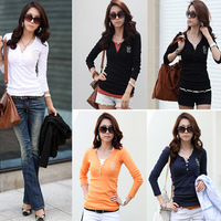 Free Shipping Women slim basic shirt top casual plus size V-neck long-sleeve T-shirt
