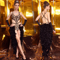 Lan kwai fong 2213 feather one-piece dress pants Latin costume leopard print sexy leotard dance clothes