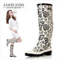Lostlands high quality eco-friendly rubber women's rainboots tall boots women's rain shoes blue and white porcelain mosaic